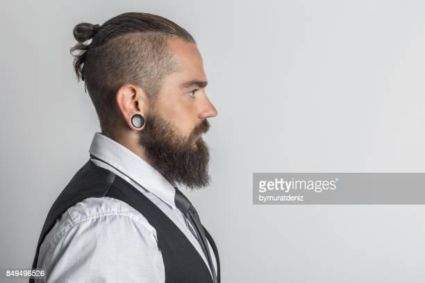 Business man looking forward in studio