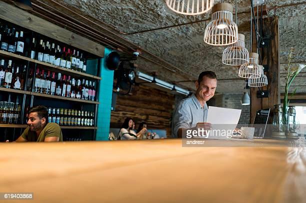 Business man managing a restaurant