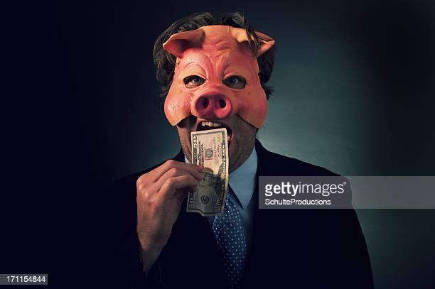 Business Man Pig Eating Money