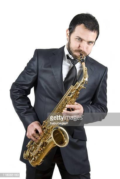 business uomo suona il Sassofono
