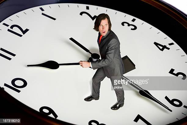 business man races with time
