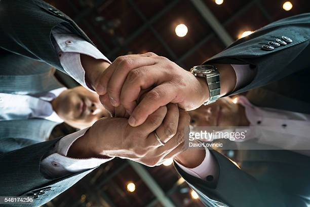 Business man  shaking hands at KRP in Kyoto, Japan
