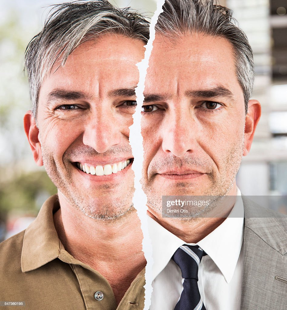 Business man, smart and casual, different moods : Stock Photo