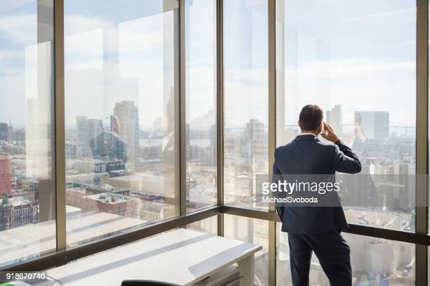 Business Man Talking On His Phone Looking Out The Window
