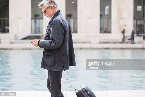 Business man traveling with trolley in Paris