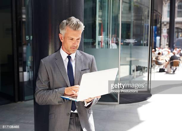 Business man using technology
