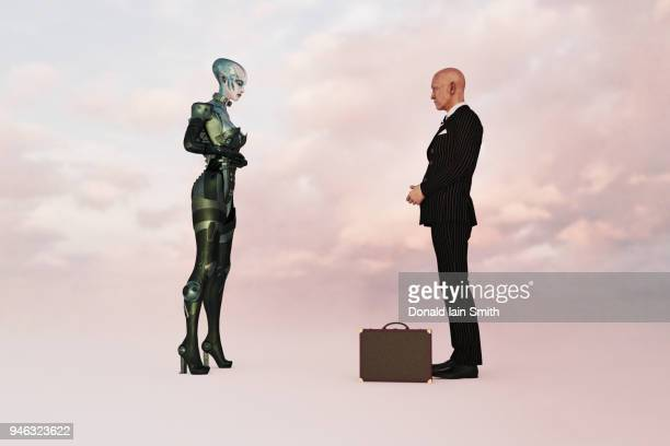 Business man wearing suit meeting with alien female to explore new business opportunities