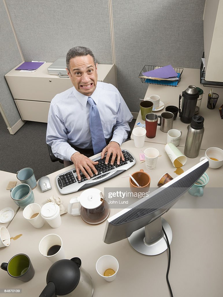 Business Man Wired On Caffeine Stock Photo | Getty Images