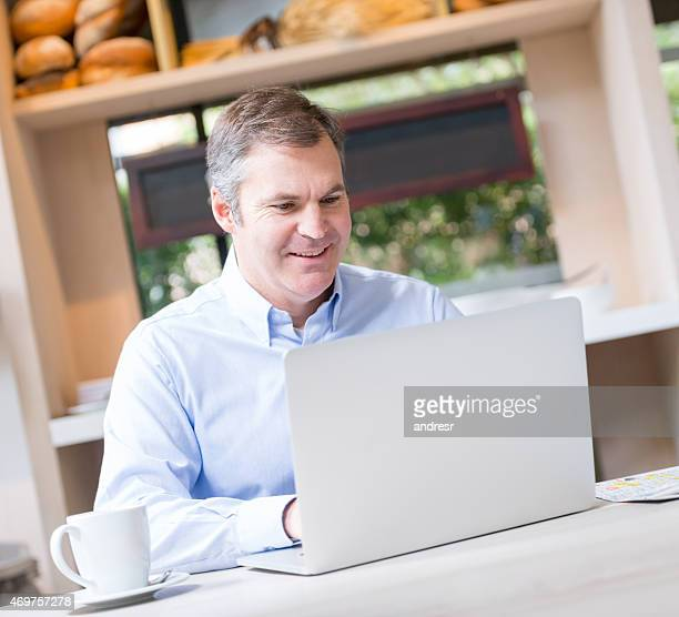 Business man working at a cafe
