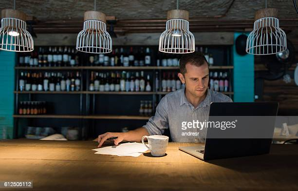 Business man working at a restaurant