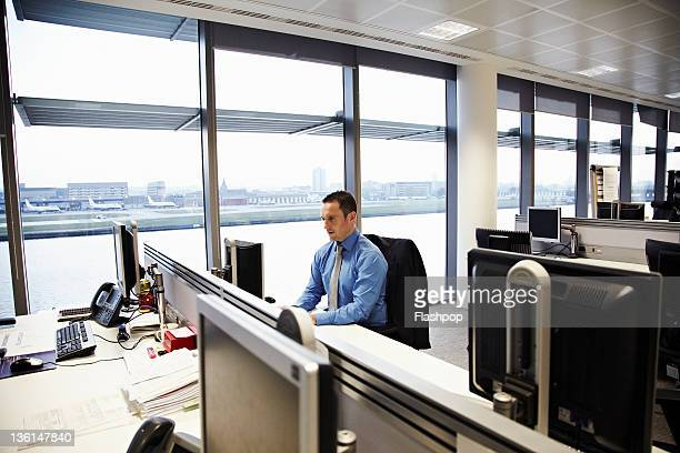 business man working at desk - shirt and tie stock pictures, royalty-free photos & images