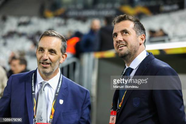 Business Manager Jacques D'Arrigo and Owner Joseph DaGrosa of FC Girondins de Bordeaux during the UEFA Europa League match between Bordeaux and...