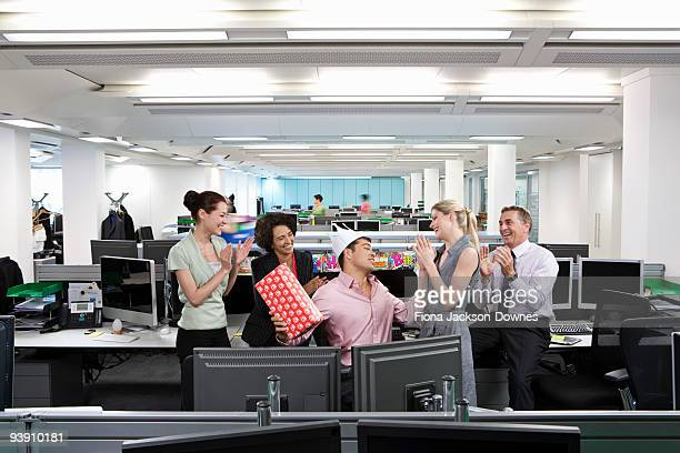 a business man's birthday at the office - funny birthday stock photos and pictures