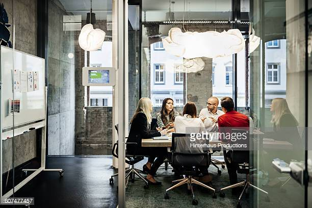 Business meeting in a modern office.
