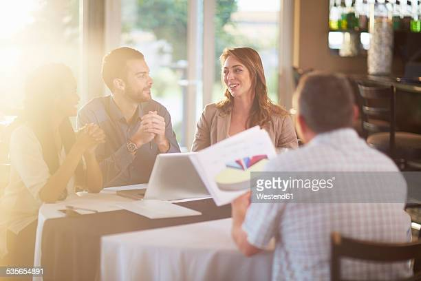 Business meeting in a restaurant