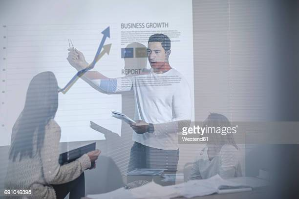 Business meeting in boardroom with chart projection