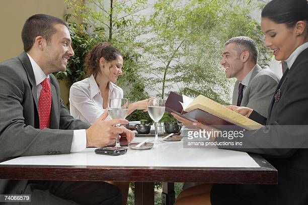 Business meeting in restaurant (low angle view)