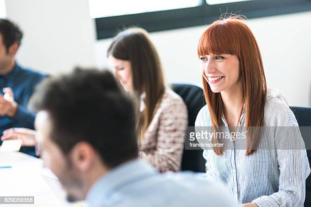 business meeting in the office - lachen stockfoto's en -beelden