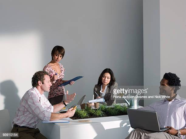 A business meeting on a green theme