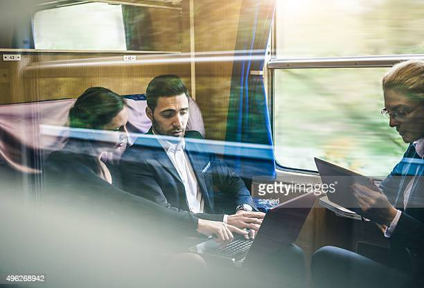 Business meeting on the train