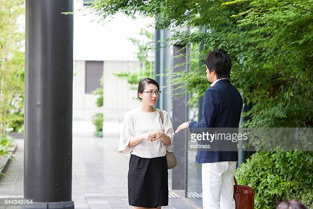 Business meeting outside