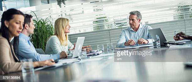 business meeting - wide shot stock pictures, royalty-free photos & images