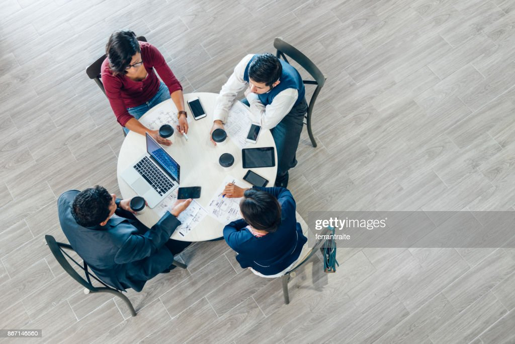 Business Meeting Seen From Above