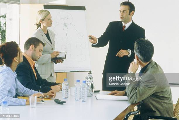 Business meeting with five people