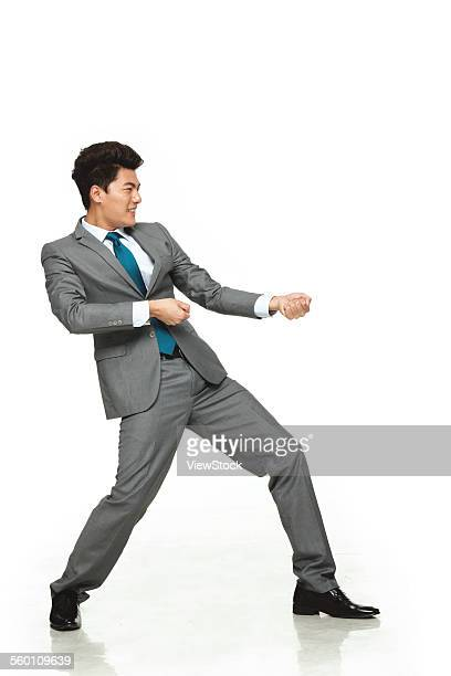 Business men do pull posture