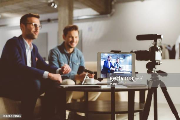 business men making a vblog - debate stock pictures, royalty-free photos & images