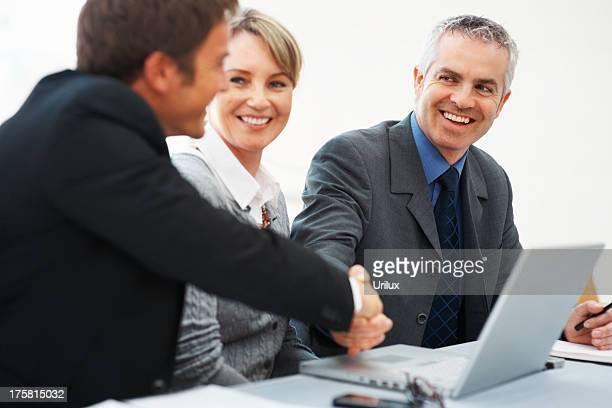 business men shaking hands - only men stockfoto's en -beelden