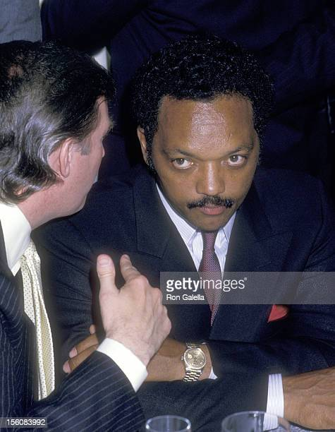 Business Mogul Donald Trump and Reverend Jesse Jackson attend the 'Mike Tyson vs Michael Spinks Boxing Match' on June 27 1988 at Trump Plaza Hotel...
