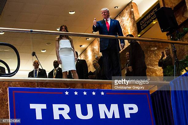 Business mogul Donald Trump arrives at a press event where he announced his candidacy for the US presidency at Trump Tower on June 16 2015 in New...