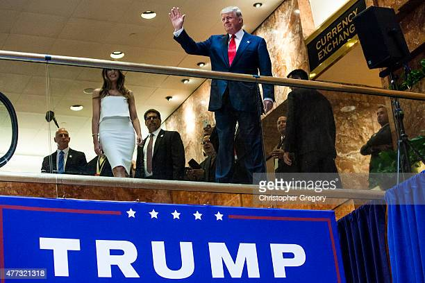 Business mogul Donald Trump arrives to a press event to announce his candidacy for the US presidency at Trump Tower on June 16 2015 in New York City...