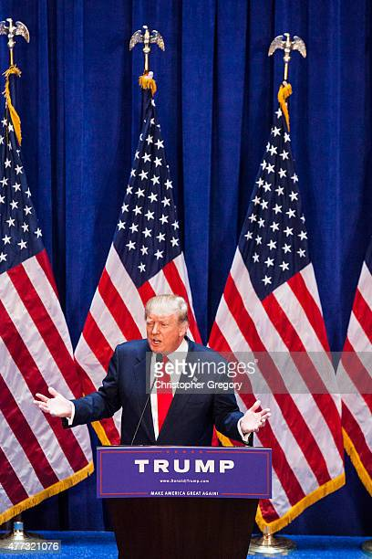 Business mogul Donald Trump gives a speech as he announces his candidacy for the US presidency at Trump Plaza on June 16 2015 in New York City Trump...