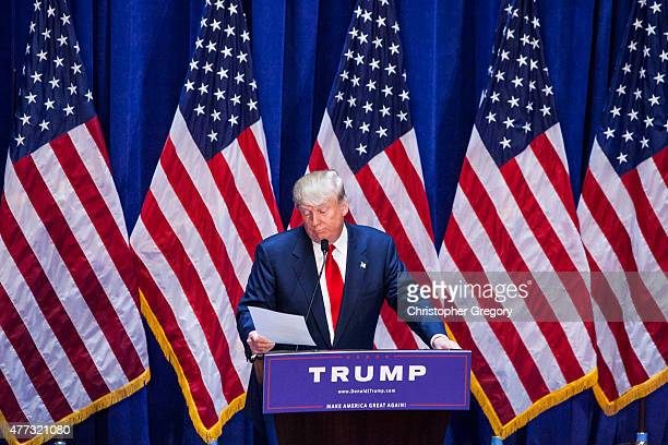 Business mogul Donald Trump gives a speech as he announces his candidacy for the U.S. Presidency at Trump Tower on June 16, 2015 in New York City....
