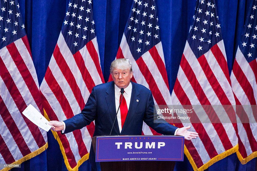 Business mogul Donald Trump gives a speech as he announces his candidacy for the U.S. presidency at Trump Plaza on June 16, 2015 in New York City. Trump is the 12th Republican who has announced running for the White House.