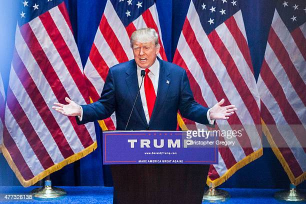 Business mogul Donald Trump gives a speech as he announces his candidacy for the US presidency at Trump Tower on June 16 2015 in New York City Trump...