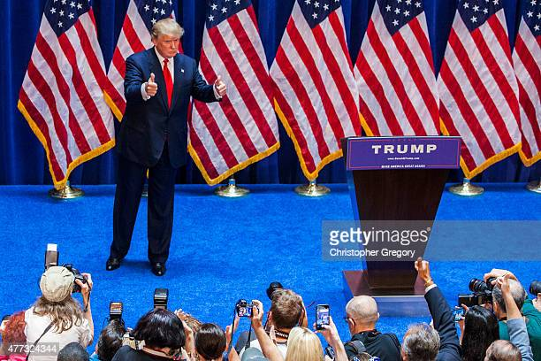 Business mogul Donald Trump makes his way off stage after announcing his candidacy for the US presidency at Trump Tower on June 16 2015 in New York...