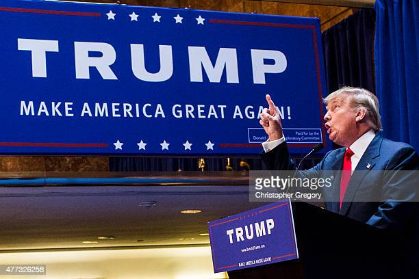 Business mogul Donald Trump points as he gives a speech as he announces his candidacy for the US presidency at Trump Tower on June 16 2015 in New...
