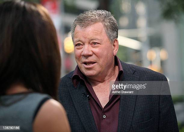 FOX Business Network Anchor Dagen McDowell talks with actor William Shatner at FOX Studios on October 6 2011 in New York City
