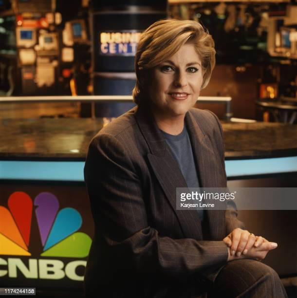Business news anchor Sue Herera poses for a portrait on CNBC's set at the New York Stock Exchange on September 30 1999 in New York City New York