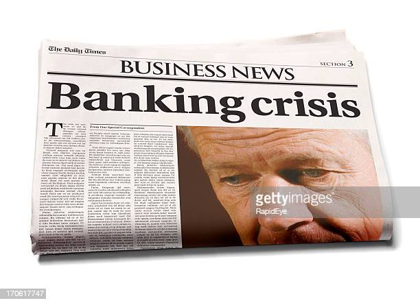 business newspaper: banking crisis - newspaper headline stock pictures, royalty-free photos & images