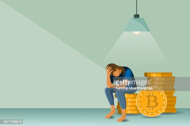 business on falling down illustration concept shows a woman feeling stress and sadness when the bitcoin has sign falling. - economist stock pictures, royalty-free photos & images