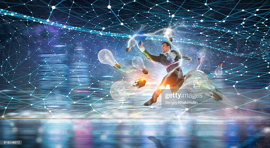 Business on the move . Mixed media : Stock Photo