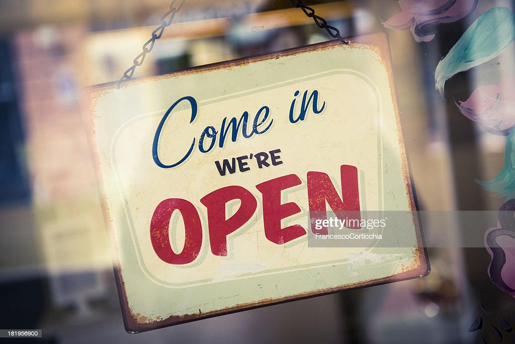 Business Opening with Open Sign : Stock Photo