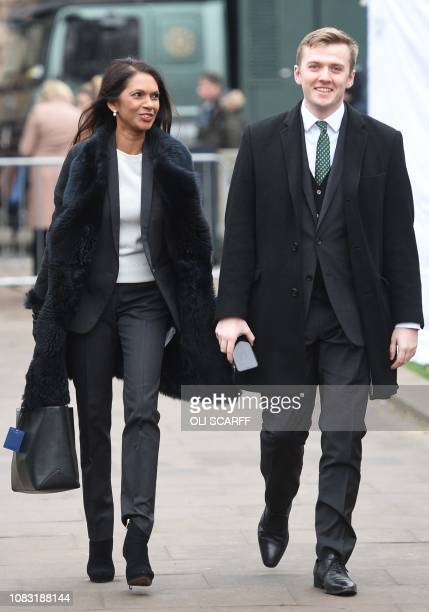 Business owner and antiBrexit activist Gina Miller arrives to speak to the media on College Green outside the Houses of Parliament in central London...