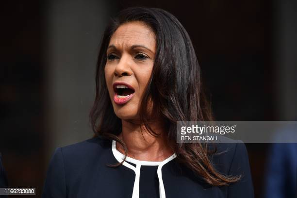 Business owner and anti-Brexit activist Gina Miller speaks outside the High Court, London on September 6 after receiving the verdict of an urgent...