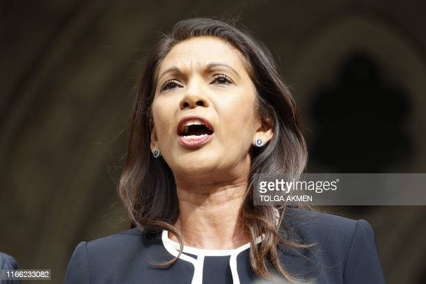 Business owner and antiBrexit activist Gina Miller speaks outside the High Court London on September 6 after receiving the verdict of an urgent...