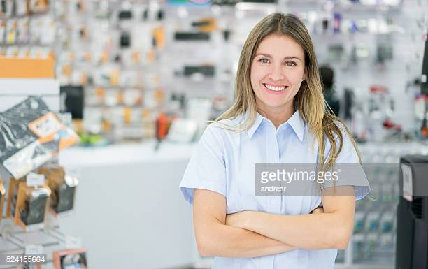 business owner at a tech store - electronics store stock photos and pictures